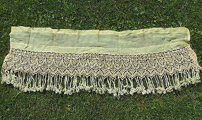 Antique Hand Made European Lace & Linen Valance