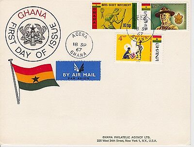 First day cover, Ghana, Scott #308-310, Scouting, 1967
