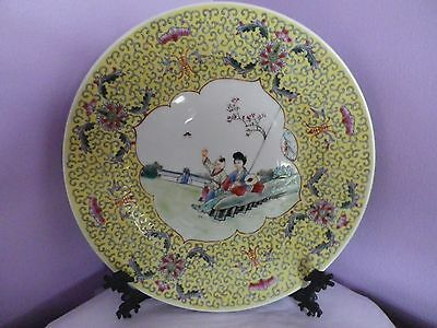 Fab Vintage Chinese Pottery Lady With Boy Design Bat & Flower Edging 26 Cms Dia