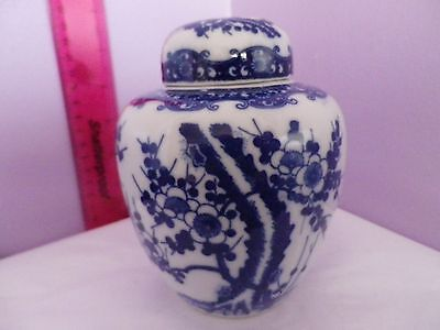 Lovely Japanese Porcelain Blue On White Prunus Blossom Ginger Jar/ Pot/vase