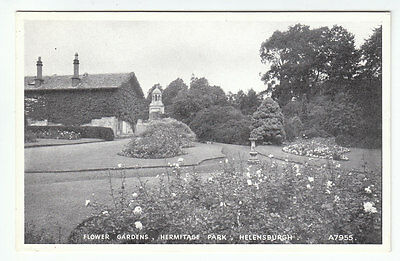 Flower Gardens Hermitage Park Helensburgh JB White A7955 Old Postcard Unposted