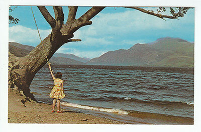 Girl With Rope Swing Loch Lomond 1960's NPO Dexter Belfast Old Postcard Unposted