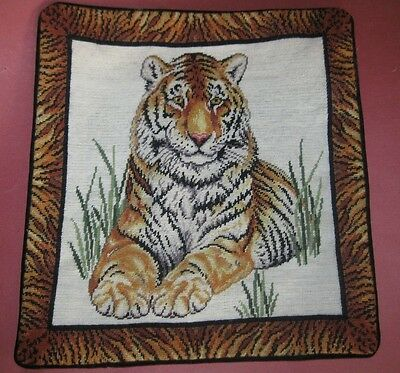 BEAUTIFUL~Unused WOOL NEEDLEPOINT PILLOW Cover~TIGER / JUNGLE CAT~Velvet Back