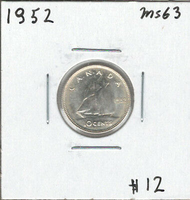 Canada 1952 Silver 10 Cents Dime MS63