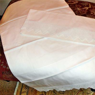 Gorgeous Pair Of Heavy Cotton Pillowcases With Deep Crochet Opening Edge