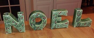 1950s Thames NOEL CERAMIC CANDLE HOLDERS Christmas Letters Hand Painted Japan