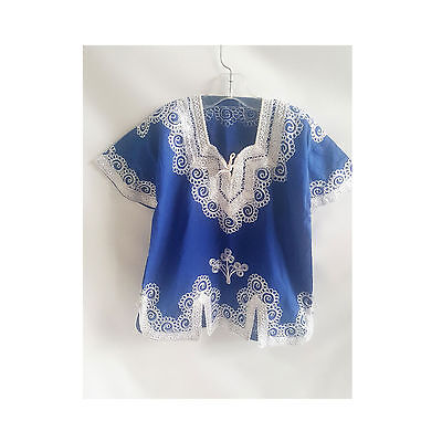 Vintage 60s Kurti Dashiki Child Size Blue Tunic Shirt Kameez Hippie Boho