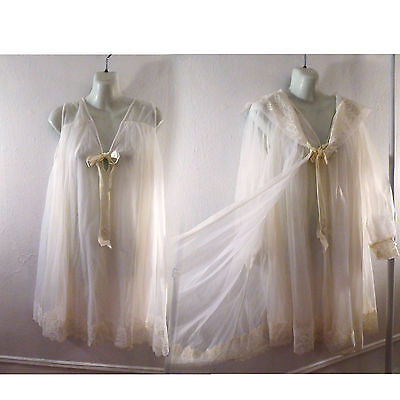 50s Vintage Nightgown Size L White Nylon Lace Peignoir Duster Robe Babydoll 60s