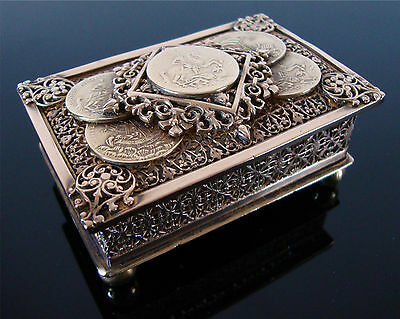 Antique Filigree Brass St George & Dragon Good Luck Amulet Medallion Coin Box