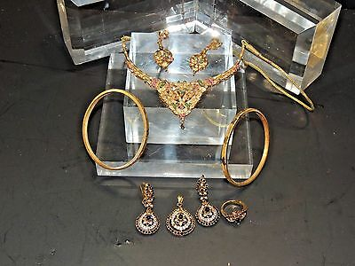 Vintage Lot 6 of 22K  Gold Plated  Indian Bollywood Necklaces/Earrings/Bangles