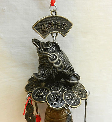 Feng Shui Money Toad Bell with Dragons and Coins - BNIB
