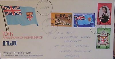 1980 FIJI QE2 10th INDEPENDENCE COVER TO ENGLAND.USED.