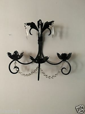 Antique Black Iron Candle Holder Wall Decor Ornate Vintage