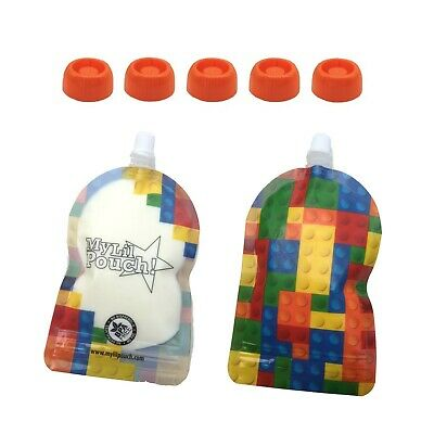 My Lil Pouch 140ml Bricks Top Spout Reusable Food Pouch 5pk and Choke Free Lids