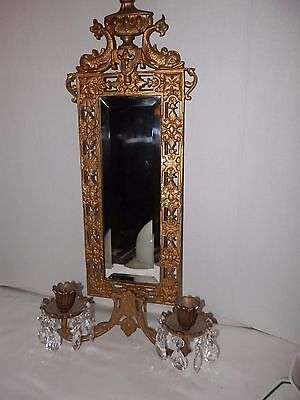 Antique Bradley and Hubbard Wall Sconce Mirror with crystal prisms 3502 Dolphins