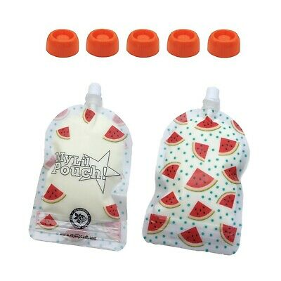 My Lil Pouch 140ml Watermelon Top Spout Reusable Food Pouch 5pk Choke Free Lids