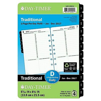 Day-Timer Daily Planner Refill 2017 One Page Per Day Classic 5-1/2 x 8-1/2""