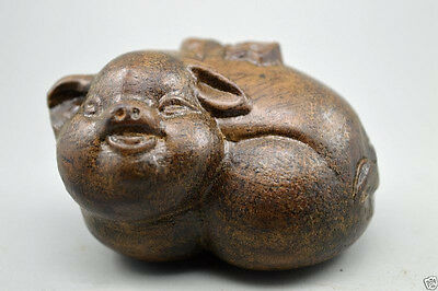 Chinese agalloch eaglewood wood antique hand-Carved Statue Pig