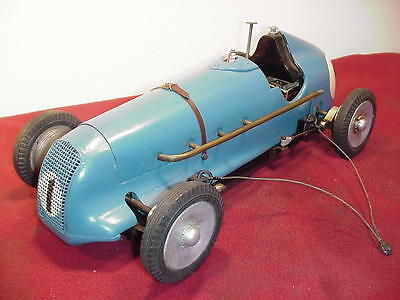 Rare Vintage 1947 M&e Challenger Bugatti Tether Car Ignition Gas Powered England