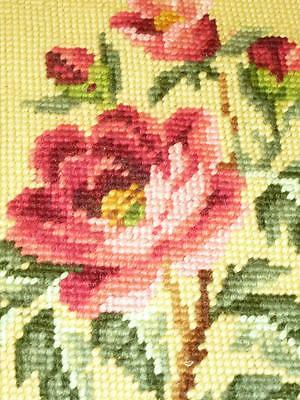 Vintage Completed NEEDLEPOINT Tapestry Canvas PINK PEONY Peonies Buttery Yellow