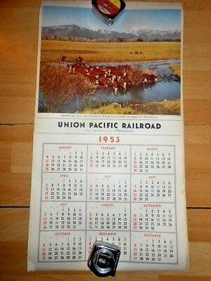 Vintage 1953 UNION PACIFIC RAILROAD Train CALENDAR Travel Posters STREAMLINERS