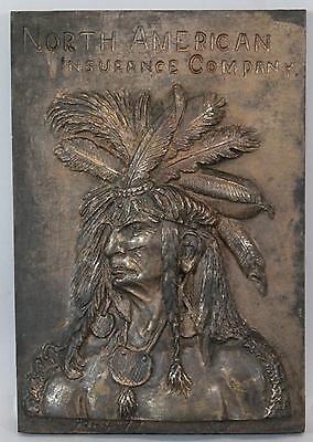 Rare Antique 1897, North American Insurance Company, Bronze Indian Plaque Sign