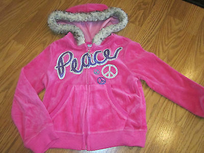 GIRLS hooded JACKET size XS 4-5 zip front PINK/ sparkly by PIPER