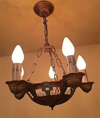 Vintage Lighting TWO 1930s chandeliers THREE sconces by Lincoln
