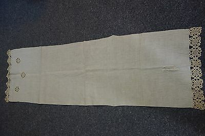 "Victorian Linen Runner-Monogram ""P"" & Crochet- Natural Color-18x60-CHARMING-SALE"