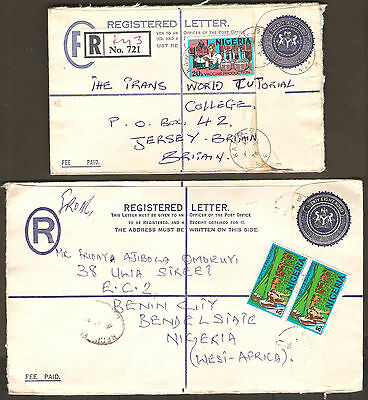 Nigeria 1978 2 Registered Stationery Letters to Jersey United Kingdom