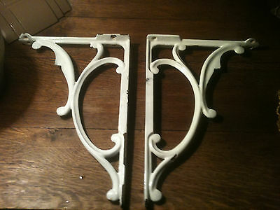 "HUGE 18"" PAIR of ANTIQUE WHITE PORCELAIN ENAMEL CAST IRON SHELF / SINK BRACKETS"