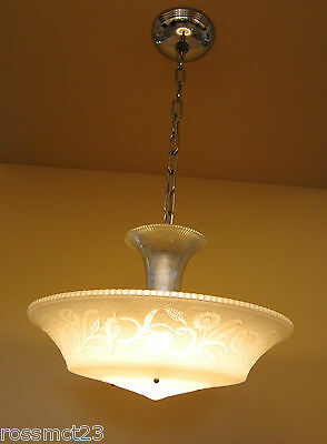 Vintage Lighting 1930s Moe Bridges chrome glass 200W chandelier   More Available