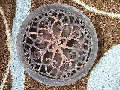 PATENT 1875 Antique Round Cast Iron Grate Vent Victorian Hardware  Tuttle Bailey