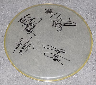 """Volbeat Full Band Signed 15"""" Remo Clear Drumhead Michael Poulsen"""