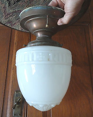 """ANTIQUE MILK GLASS ACORN SHADE COMMERCIAL CEILING FIXTURE ARTS & CRAFTS 4""""Fitter"""