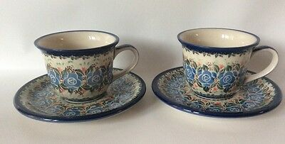 Unikat Boleslawiec Polish Pottery Set Of 2 Cups And Saucers Floral Signed
