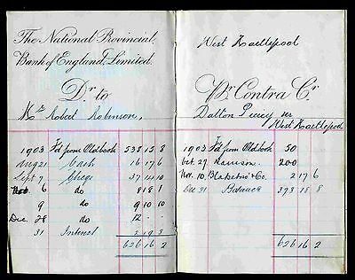 Edwardian Pass Book for The National Provincial Bank of England Limited.