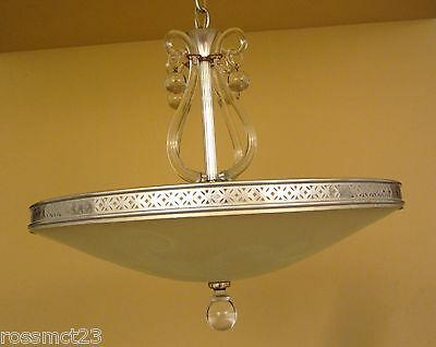 Vintage 1940s Hollywood Regency Lightolier silver chandelier