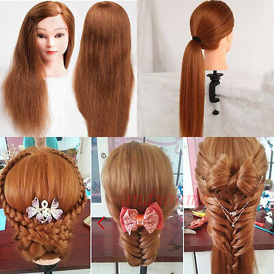Salon Hairdressing Training Practice Mannequin Head 100% Real Human Hair + Clamp