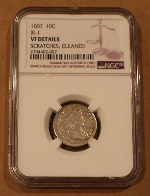 """1807 Silver Draped Bust Dime Graded / Slabbed NGC VF Details """"Scratches Cleaned"""""""