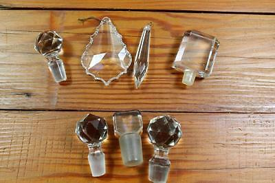 Vintage Lot of Cut Glass Perfume Bottle Stoppers, Chandlier Crystals - Craft
