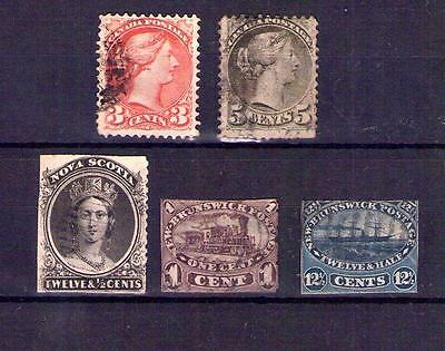 Collection of 5 Early Canada Stamps 19thC, Scarce ? Canadian 3c 5c
