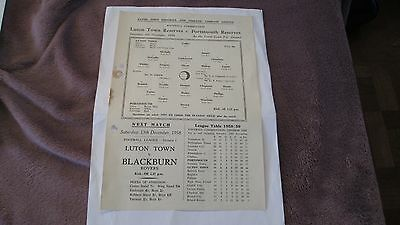 Luton Town Reserves V Portsmouth Reserves 6.12.1958 Single Sheet