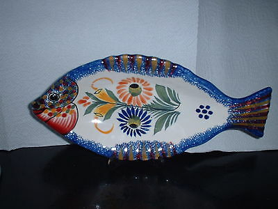 Quimper Haind Painted Fish Shaped Dish 26 X 12.5 Cms