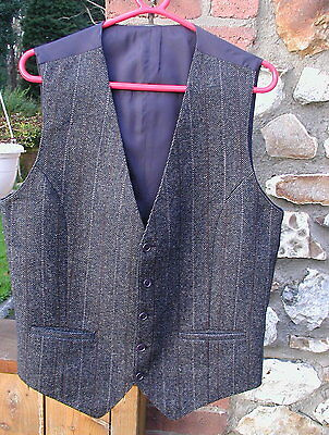Gents Country Tweed Check Waistcoat Silk Lined Size Small 42 Inch