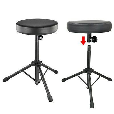 Foldable Drum Throne Padded Seat Stand Stool Drummer Music Rock Band Chair