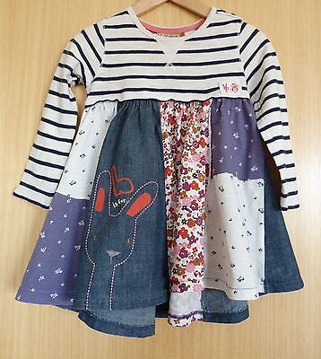 Next Girls Dress Age 2 3 Blue Casual Winter Chambray Patchwork Rabbit Bunny