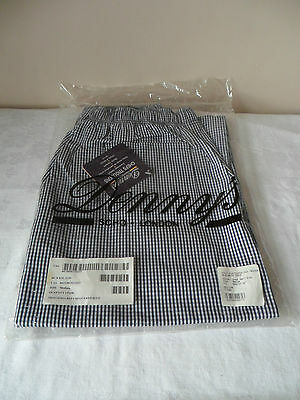 """Denny`s Blue White Check Chef`s Elasticated Trousers Medium Regular Size 32 """""""