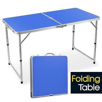 Alu Folding Portable Camping Picnic Dining Table Height Adjustable 4FT Blue UK