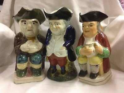 3 Old Large Toby Jugs Unmarked